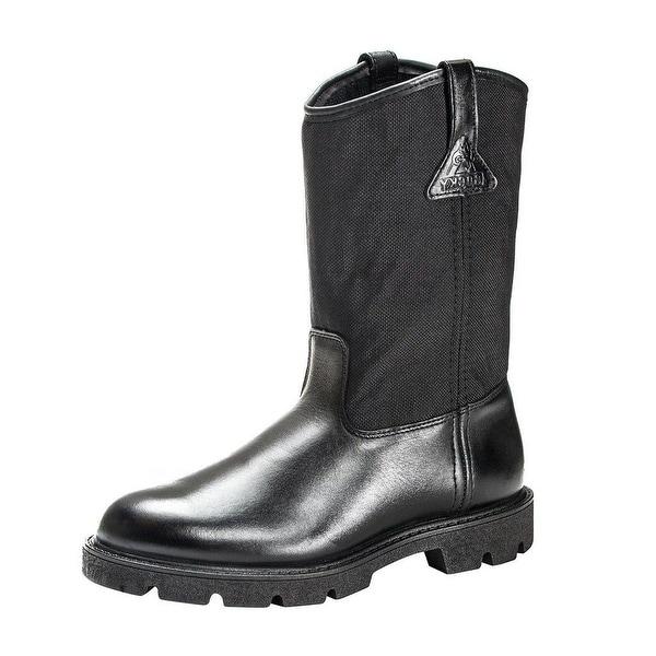 "Rocky Work Boots Mens 10"" Pull On Wellington Light Black"