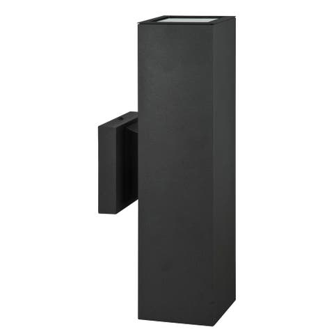 Modern Outdoor Light for Home Exterior Aluminum Wall Sconce Weather Resistant Wet Rated, Black, 15 x 4.375 inches