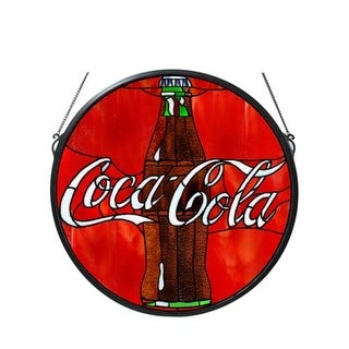 Meyda Tiffany 106226 Button Medallion Stained Glass Window from the Coca-Cola Collection - BLACK