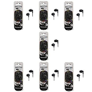 Panasonic ErgoFit In-Ear Earbud Headphones - 7 Pack (Black)