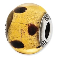 Italian Sterling Silver Reflections Dark Yellow & Brown Glass Bead