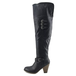 MIA Womens Farley Leather Almond Toe Over Knee Fashion Boots - 6