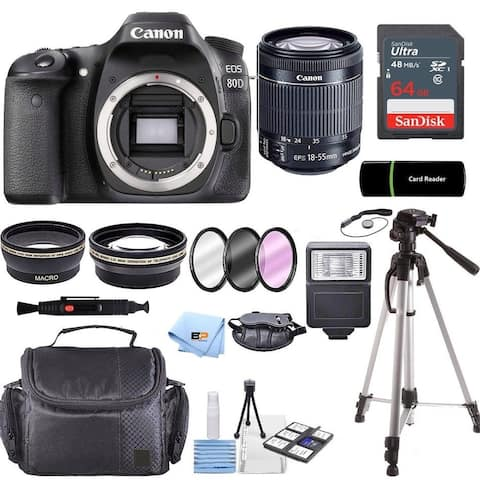 Canon EOS 80D Camera Accessory Kit W/ 18-55mm Lens + 64GB Card + Case