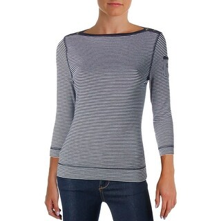 LRL Lauren Jeans Co. Womens Casual Top Cotton Striped