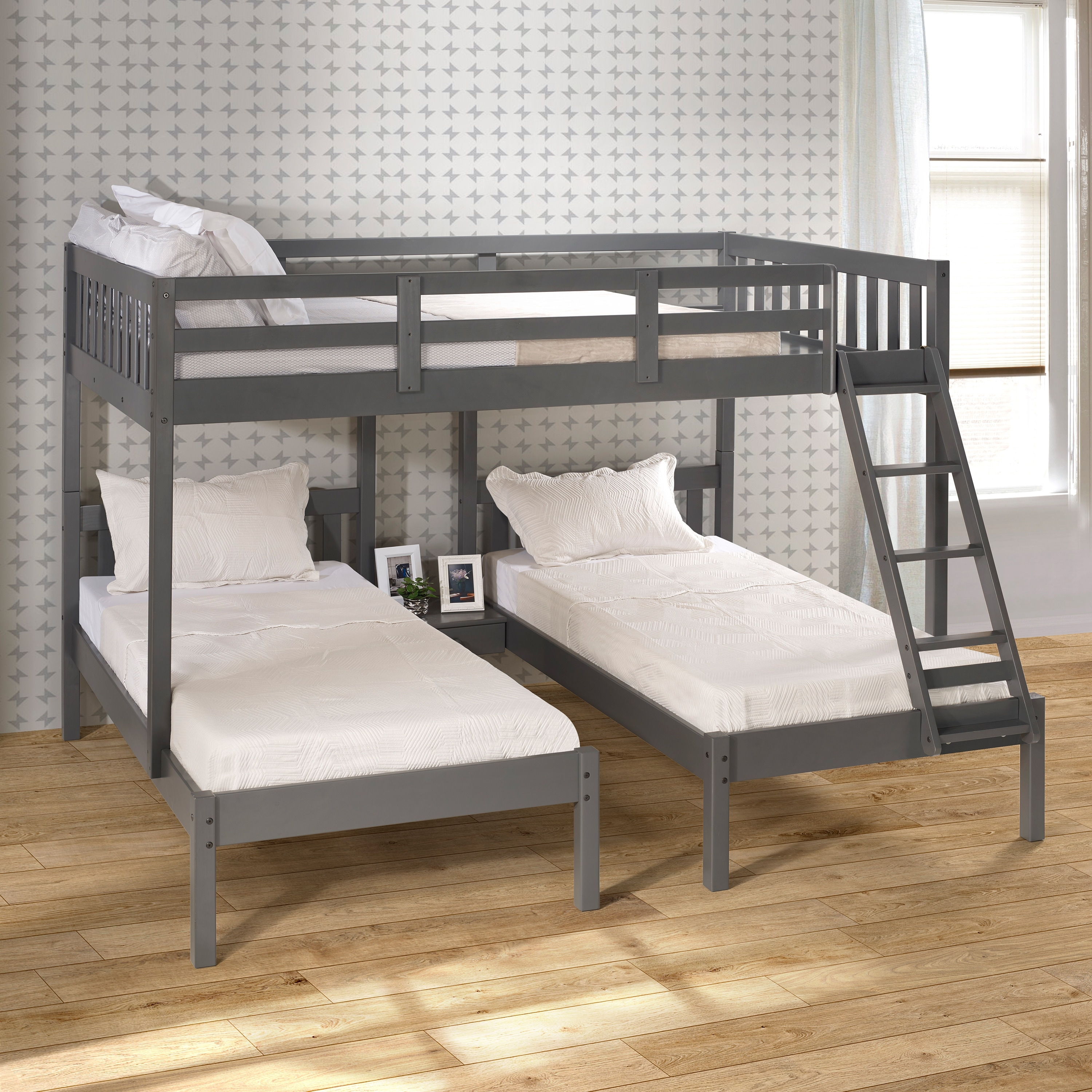 Picture of: Dark Grey Full Over Double Twin Bunk Bed Overstock 31264116