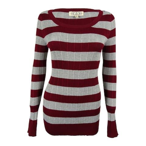 b0076040009 Pink Rose Juniors  Striped Rib Knit Sweater