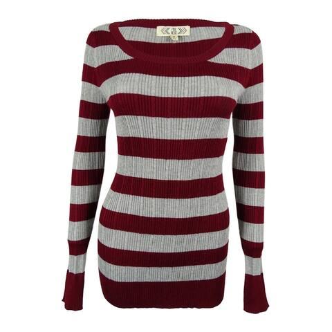 Pink Rose Juniors' Striped Rib Knit Sweater