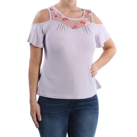 ULTRA FLIRT Womens Purple Cold Shoulder Embroidered Cold Shoulder Short Sleeve Jewel Neck Top Size: L