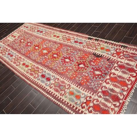 "Vintage Southwestern Afghan Kilim Hand Woven Flatweave Oriental Area Rug (5'5""x11') - 5' x 8'"