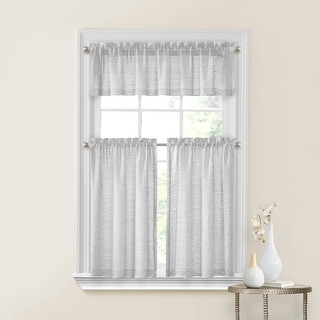 Perry 3-Piece Textured Slub Sheer Kitchen Curtain Set, Tiers 27x36, Valance 54x15 Inches