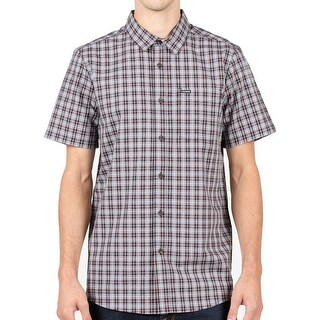 Volcom Blue Mens Size Large L Short-Sleeve Button Down Plaid Shirt