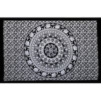 Handmade 100% Cotton Elephant Mandala Throw Tablecloth Bedspread Beach Sheet Dorm Essential 60x90 Black White