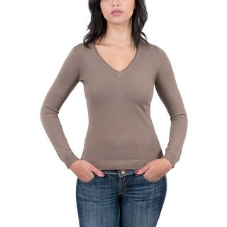 RC Cashmere Blend Brown V-Neck Womens Sweater