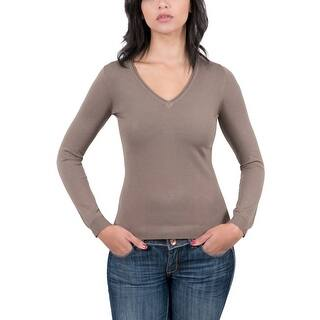 Real Cashmere Brown V-Neck Womens Sweater|https://ak1.ostkcdn.com/images/products/is/images/direct/06e3aab9284e7c684e7c521e886c8b03cdffbd44/Real-Cashmere-Brown-V-Neck-Womens-Sweater.jpg?impolicy=medium