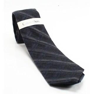 Calvin Klein NEW Gray Midnight Silk Blend Woven Men's Slim Necktie