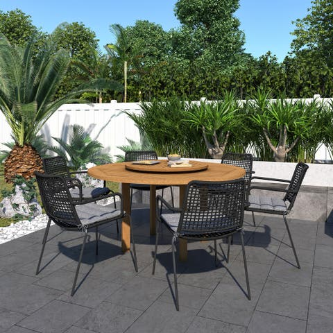 Gonilla 7-piece with Lazy Susan Outdoor Patio Dining Set