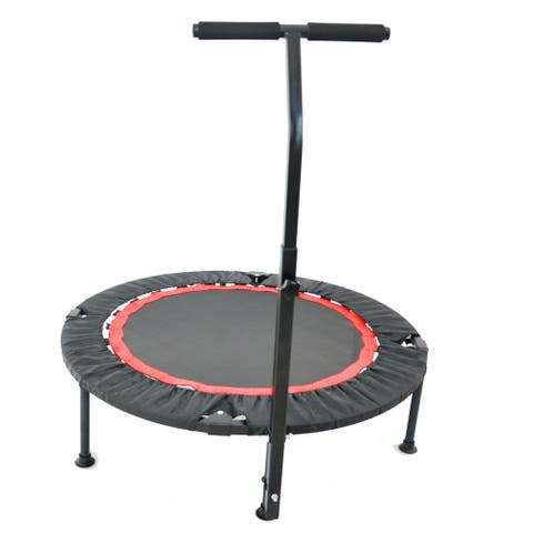 Merax 40 Inch Foldable Trampoline with T-shaped Handle - Black - 40 Inch