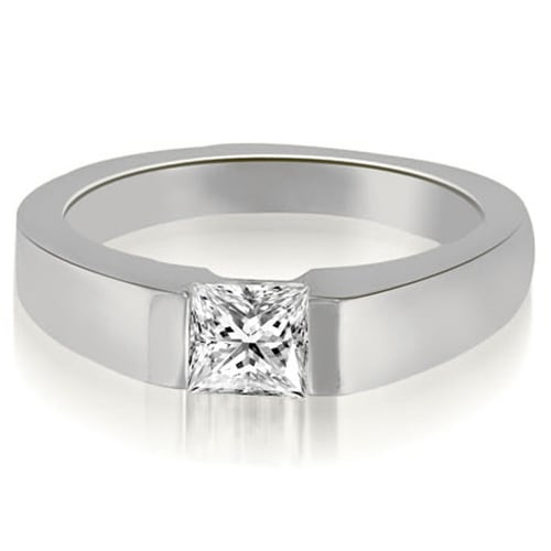 0.75 cttw. 14K White Gold Princess Cut Diamond solitaire Engagement Ring
