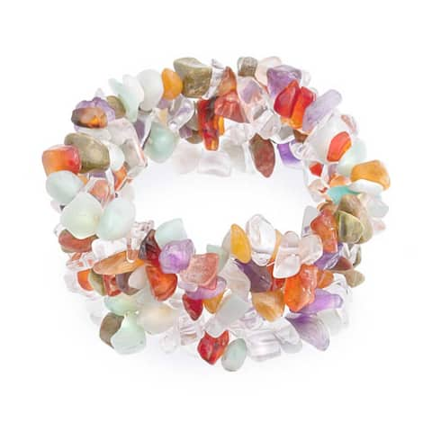 Multi Color Stones Crystal Chip Stone Wide Chunky Cluster Multi Strand Stretch Bracelet For Women