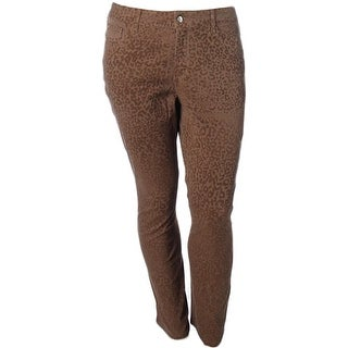 NYDJ Womens Petites Sheri Slim Jeans Colored Cheetah Print
