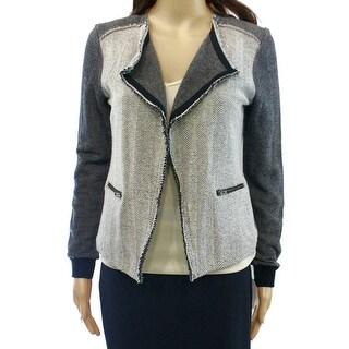 Caslon NEW Black Ivory Womens Size Large L Herringbone Knit Jacket