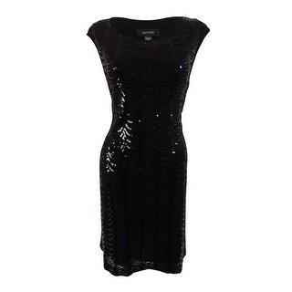 Connected Women's Cap Sleeve Scallop Sequin Dress