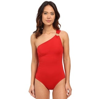 Michael Kors One Shoulder Maillot Womens One-Piece Swimsuit Red Solid Size 8