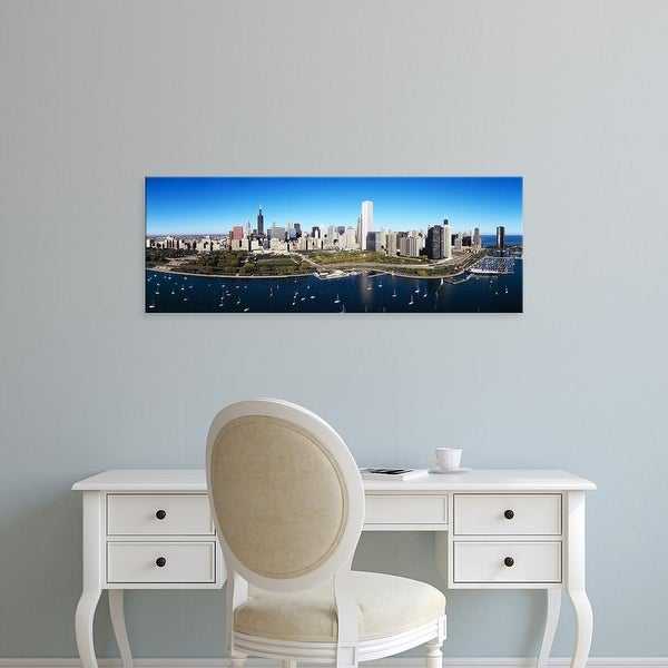 Easy Art Prints Panoramic Images's 'Boats docked at a harbor, Chicago, Illinois, USA' Premium Canvas Art