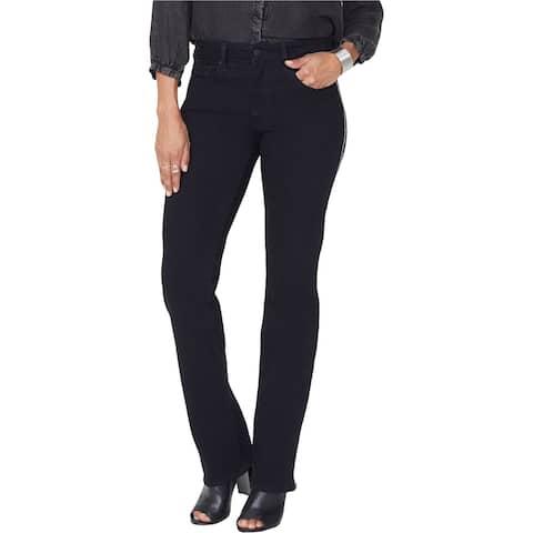 NYDJ Womens Marilyn Embellished Straight Leg Jeans, Black, 12