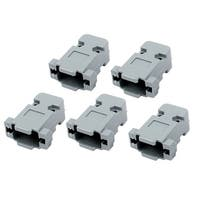 5 Pcs Plastic Serial Port D-Sub DB9 Connector Kit Backshell Gray w Screws