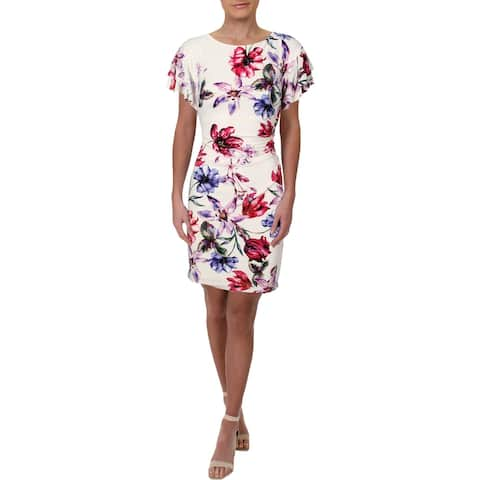 Lauren Ralph Lauren Womens Petites Cocktail Dress Jersey Floral