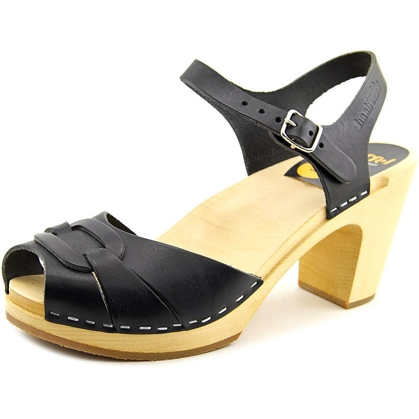 652f84598 Swedish Hasbeens Peep Toe Super High Women Leather Black Slingback Sandal