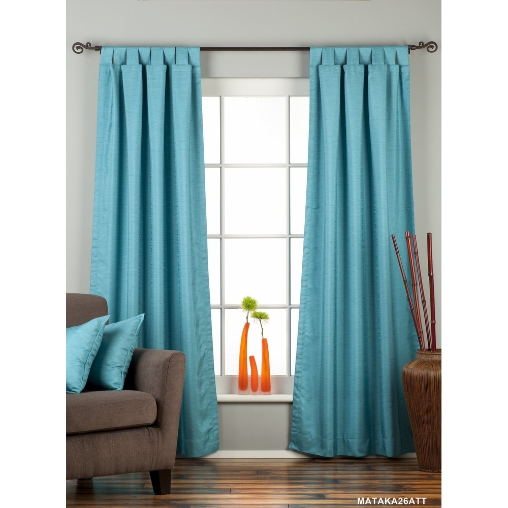 Turquoise Tab Top Matka Raw Silk Curtain / Drape / Panel - Piece. Opens flyout.