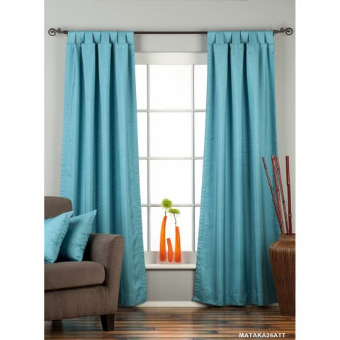 Turquoise Tab Top Matka Raw Silk Curtain / Drape / Panel - Piece