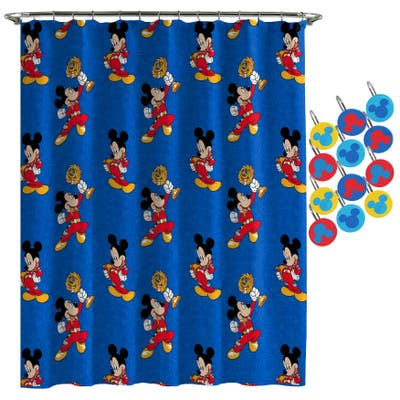 Mickey Mouse Road Race Shower Curtain and Hooks - Multi