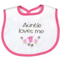 "Raindrops Baby Girls ""Auntie Loves Me"" Embroidered Bib, Strawberry - One size"