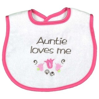 """Raindrops Baby Girls """"Auntie Loves Me"""" Embroidered Bib, Strawberry - One size"""