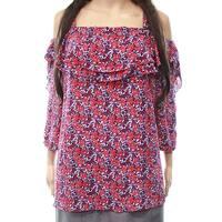 NYDJ Women's Plus Lily Cold-Shoulder Ruffle Blouse