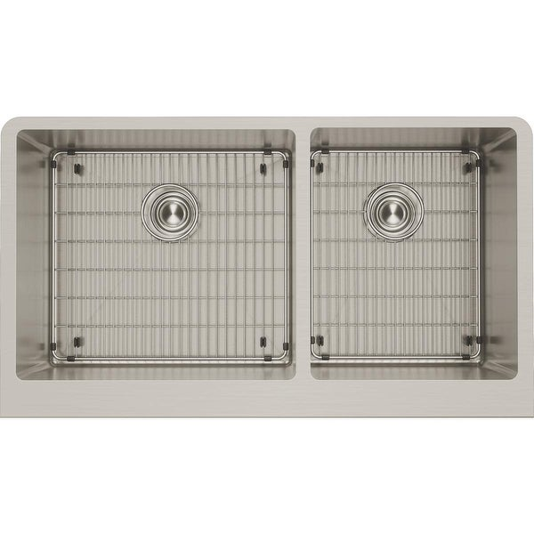 "Elkay CTXF234179C Crosstown 35-7/8"" Drop In Dual Basin Stainless Steel Kitchen Sink with Basin Racks and Basket Strainers"