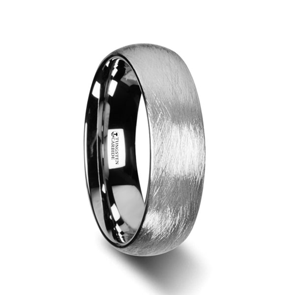 THORSTEN - BLACKWALD Domed Tungsten Carbide Ring with Wire Brushed Finish Design - 6mm