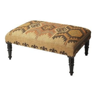 Offex Transitional Rectangular Jute Cocktail Ottoman - Multicolor