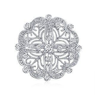Vintage Antique Style Floral Heart Filigree CZ Brooch Pin For Women Silver Plated Brass