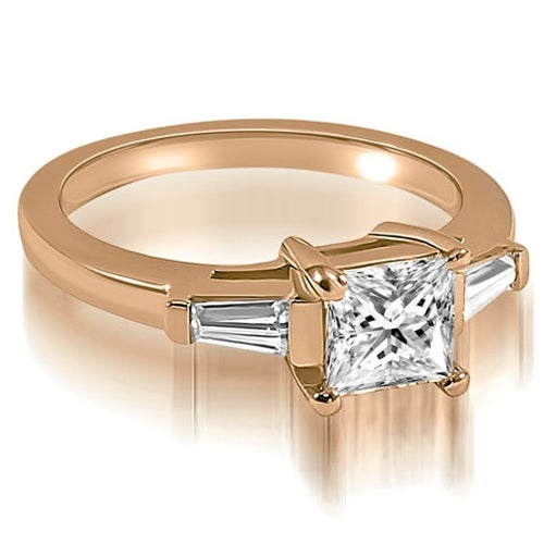 1.00 cttw. 14K Rose Gold Princess Baguette Three Stone Diamond Engagement Ring