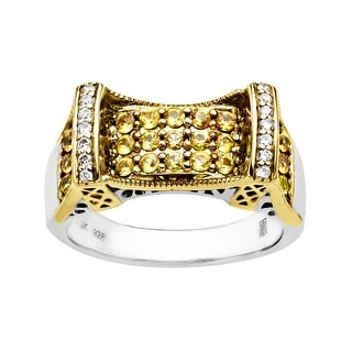 Manhattan Collection: Sapphire 59th Street Bridge Ring in Sterling Silver & 14K Gold with Diamonds - Size 7 - Yellow