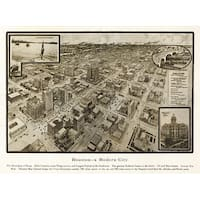 Houston, TX - (1812) - Panoramic Map (100% Cotton Towel Absorbent)