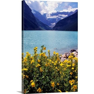 """Wildflowers in bloom, Lake Louise, Alberta, Canada."" Canvas Wall Art"