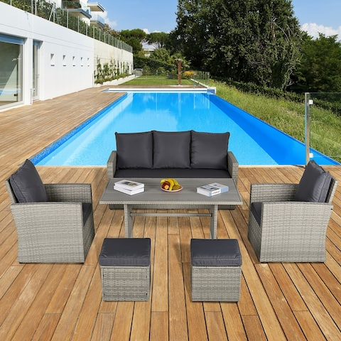 Outsunny 6 PCS Outdoor Patio Dining Table Sets All Weather PE Rattan Sofa Chair Furniture set Indoor Outdoor with Cushions