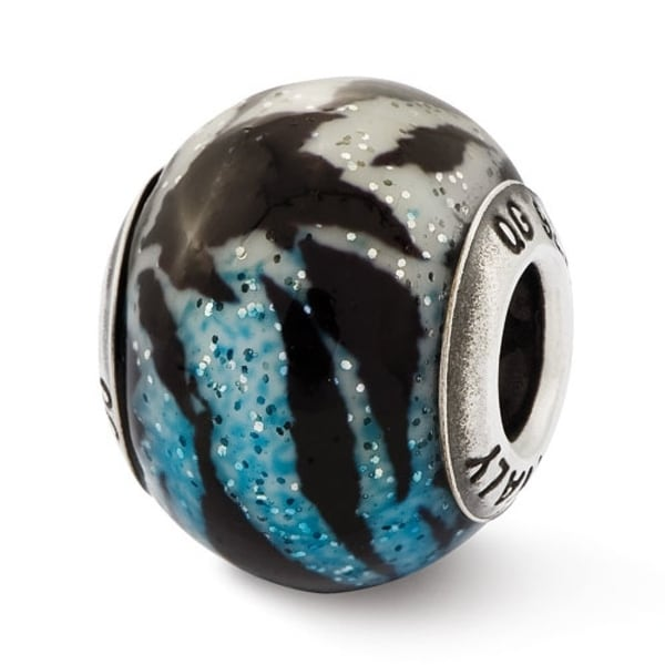 Italian Sterling Silver Reflections Variegated Blue & Black Stripes Glass Bead (4mm Diameter Hole)