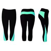 Women's Athletic Fitness Sports Yoga Pants Capri Large/X-Large-Black/Blue