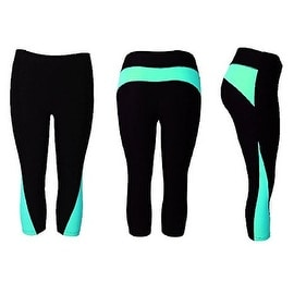 Women's Athletic Fitness Sports Yoga Pants Capri  Small-Medium/Black-Blue